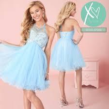 light blue short prom dresses beaded halter neck corset back girls