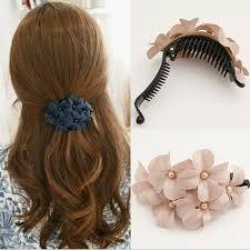 banana clip hair fancy floral with pearl hair claw plastic banana clip hair