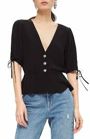 black blouse with white collar s collared button tops tees nordstrom