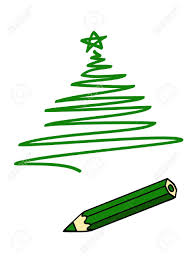 a green pencil and a green drawing of a christmas tree royalty
