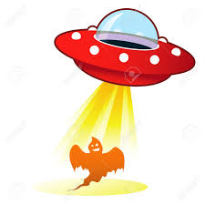 retro flying saucer ufo with light beam on halloween ghost