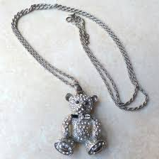 heart rhinestone necklace images Large rhinestone studded teddy bear with heart pendant necklace jpg
