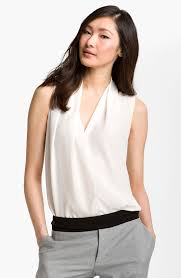 shell blouse lyst roy woven silk shell blouse in white