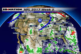 New England Weather Map by Nfl Weather Forecast 2017 Week 2 Warm In The East Cool In The