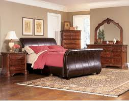 Leather Sleigh Bed Distressed Cherry Bedroom W Dark Brown Bycast Leather Sleigh Bed