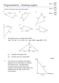 trigonometry finding angles worksheet by tristanjones