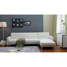 marsden white tufted bi cast leather 2 piece sectional sofa bed