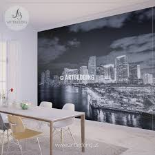 wall murals peel and stick self adhesive vinyl hd print tagged miami skyline in black and white wall mural landmarks photo mural photo mural wall