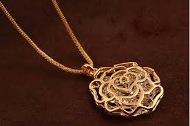 necklace pendant designs gold images Women charms hollow rose flowers design pendant rose gold silver jpg