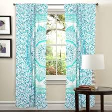 Teal Drapes Curtains Mandala Hippie Tapestry Curtains U0026 Window Door Drapes Valances