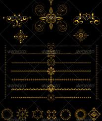 gold borders and ornaments on black background by tatyanamh