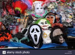 plastic masks for halloween for sale on market stall la paz