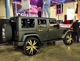 black jeep black rims ace hood u0027s black on gold jeep wrangler celebrity cars blog