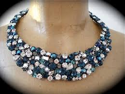 blue necklace images Navy blue swarovski crystal embellished double teardrop bridal jpg