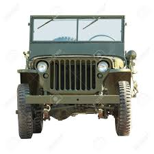 old white jeep front of old military american off road vehicle isolated on a