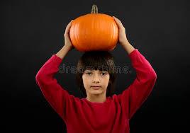 Halloween Costume Pumpkin Portrait Boy Wearing Halloween Costume Pumpkin