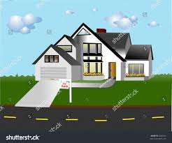 large chalet style house on street stock vector 2668704 shutterstock
