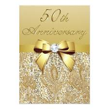 50th wedding anniversary 50th gold wedding anniversary faux sequins and bow card zazzle