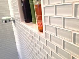 white mini glass subway tile shower walls amys office