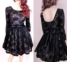 scoop black vintage lace a line cocktail dresses long sleeves 3 4