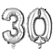 silver balloons number 30 balloons 16 inch silver large 30th birthday party