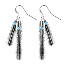 silver feather earrings navajo silver feather earrings