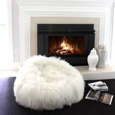 natural white mongolian sheepskin curly fur bean bags eluxury home