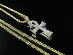 real gold cross necklace images Men 39 s 10k yellow gold solid ankh cross real diamond pendant chain jpg