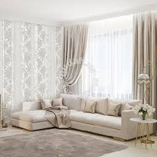 lightgrey floral vertical wallpaper for fully deco furniture