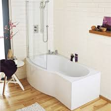 sommer p shaped shower bath 1700mm inc sliding screen and premier curved shower bath 1500mm with screen acrylic panel medium image
