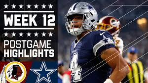 redskins vs cowboys nfl on thanksgiving week 12 highlights