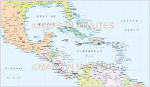 Caribbean Maps by Central America Countries Political Map National Stock Vector
