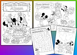 personalized mickey mouse birthday party printable coloring