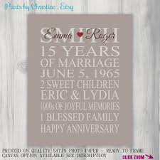 15 year anniversary ideas 15 year anniversary gift print wedding by printsbychristine