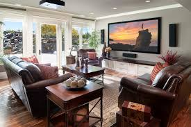 WallmountedtvcabinetFamilyRoomTraditionalwithbrownleather - Family room leather furniture