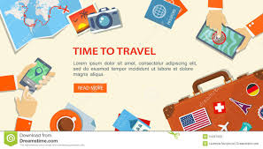 travel plans images Flat banner of travel planning desktop with obiects and hands jpg