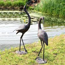 large metal crane garden ornaments