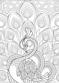 zentangle peacock with ornament coloring page free printable