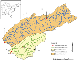 map usa southwest map of two streams in southwest virginia usa where hellbenders