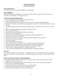 warehouse resume exles warehouse worker description resume warehouse worker