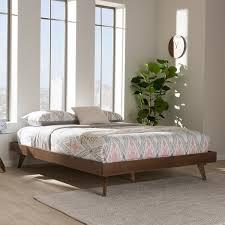 Walnut Bed Frame Mid Century Walnut Brown Wood Bed Frame By Baxton Studio Free