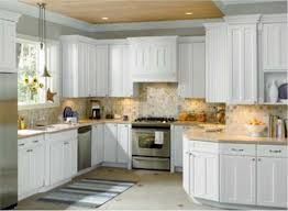 Marble Tile Kitchen Backsplash Granite Countertop White Thermofoil Cabinet Doors Marble Tile