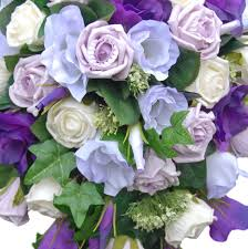 Lisianthus Brides Wedding Shower Bouquet In Lilac U0026 Ivory Roses And Purple