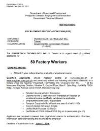 Sample Resume For Factory Worker by 50 Factory Workers For Taiwan Powertech Technology Inc U2013 Jobs