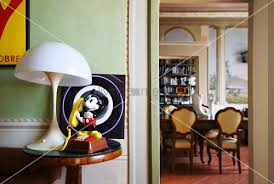 mickey mouse table l mickey mouse figurine and vintage l on side table view into