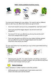 subtracting money worksheet solving problems money money