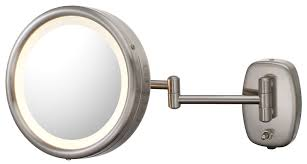 fresh round brushed nickel bathroom mirror 20725