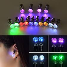 light up earring studs 1pair led earring light up bright stud earrings glowing ear stud