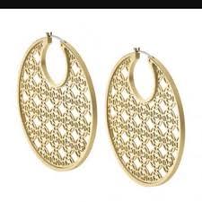 Gold Monogram Earrings Michael Kors Gold Tone Heritage Monogram Earrings On Tradesy