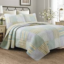 Patchwork Duvet Covers Spa Stripes Patchwork Quilt Set Free Shipping Today Overstock